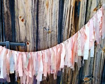Bohemian Peach Garalnd // Wedding Garland // Baby Shower Garland // Home Decor Peach Garland // Valentines Day Decoration