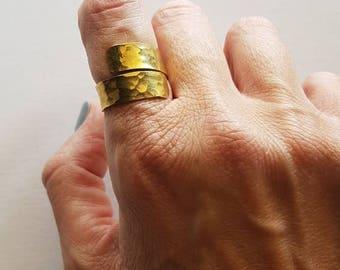 Brass ring,Hammered ring,adjustable ring