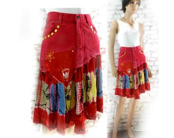 red skirt- Mori girl skirt - altered jean skirt - Upcycled red skirt , tattered skirt - - Eco-friendly skirt - western skirt - Size 4  # 11