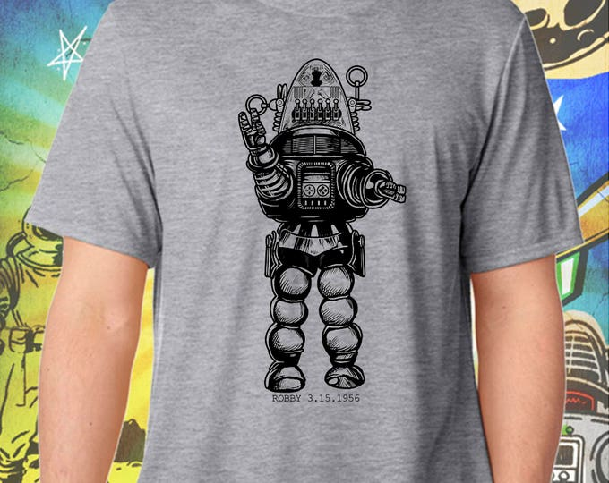 Forbidden Planet / Robby the Robot in Black  / Men's Gray Performance T-Shirt