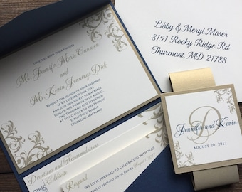 Pocket Wedding Invitations, Navy and Gold Wedding, Wedding Invitations, Gold, Navy Blue, Pocketfold Wedding Invitations, Elegant Wedding