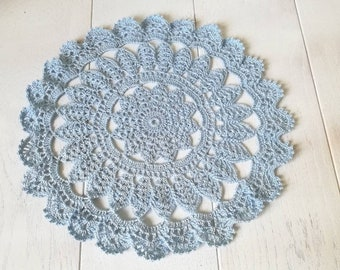 Crocheted blue doily, Round lace doily, Crochet tablecloth, Cotton doily, Crochet centerpiece doily, Lace doilies, Gift for women