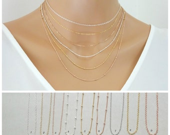 Dainty Plain Chain Necklace, Sterling silver chain, 14 k Gold filled chain necklace, Rose gold fill necklace, chain only layering necklace