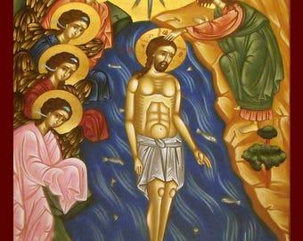 orthodox.ORTHODOX ICONS.byzantine icons.religious icons.The Baptism Jesus. madeingreece.hand painted icons.greek christian icon.gift wedding