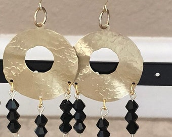 Gold Earrings with Black beads