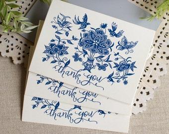 indigo floral thank you notes - blue and white thank you card set - wedding thanks