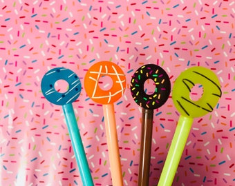 Donut Pens, Doughnut Pens Set of four donut pens black ink