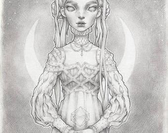 "Original Graphite Drawing ""Ermionia"""