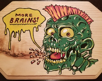 Hungry zombie plaque