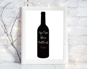 wine quote, wine print, wine poster, wine quote print, wine art, wine lover, wine sayings, wine bottle quote, wine wall decal, kitchen decor