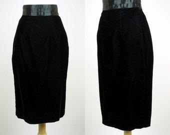 1980s black velvet pencil skirt, high waist satin waist band Scott McClintock skirt, Small