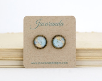 Map Earrings - Travel Earrings - Map Jewelry - Gift For Traveler - Travel Jewelry - Vintage Map Print - Map Post Earrings - Gift For Her