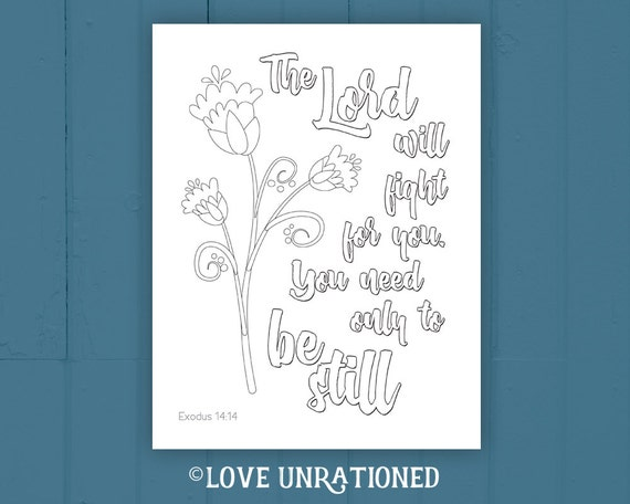 Bible Verse Coloring Page Adult Coloring Page Exodus 14 14