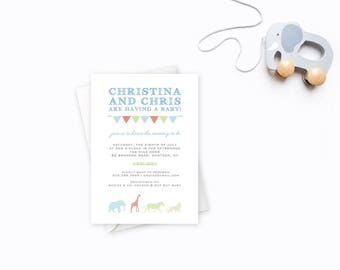 Circus Theme Baby Shower, Baby Shower Invitation, Gingham Pattern, Invite with Animals, Unisex Baby Shower, Circus Theme Invite