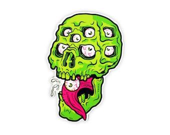 "Mutant Skull Vinyl Sticker - 4"" Diecut Weatherproof Sticker Indoor/Outdoor"
