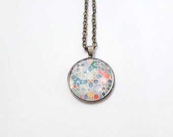 Brass glass cabochon necklace bronze Bohemian oriental Moroccan pattern