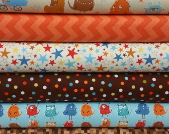 Brown & Orange Monsters Bundle From Robert Kaufman's Monster Collection (6 Fabrics)