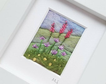 Felted and embroidered miniature landscape - original artwork with pink hand embroidered flowers