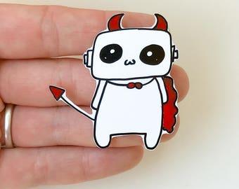 Robot Devil Shrink Plastic Pin