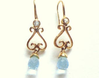 Solid 9k Gold, Aquamarine, British Victorian Style, Drop Earrings, Art Nouveau Design, Gold Dangle Earrings, Stamped