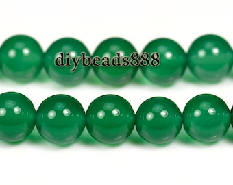 15 inch strand of Green Agate smooth round beads 3mm 4mm 6mm 8mm & 10mm for choose