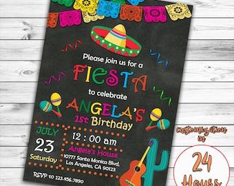 Fiesta fun birthday party printable invitation printable fiesta fun birthday invitation fiesta fun invitation cinco de mayo invitation mexican party invitation chalkboard invitation printable filmwisefo