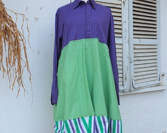 Repurposed Mens Shirt Cotton Dress  -Purple and Spring Green Upcycled Men's Shirt  - Patchwork  Indie Couture Dress By Resplendent Rags