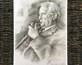 J. R. R. Tolkien hand drawn portrait / pencil drawing / art print / home decor