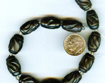 LAST 15mm Deeply Carved Black Rounded Tube Wood Beads 6pcs
