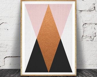 Geometric Wall Art, Copper Print, Pink Black Decor, Modern Minimalist, Printable Art, Triangle Design, Instant Download, Mid Century Poster