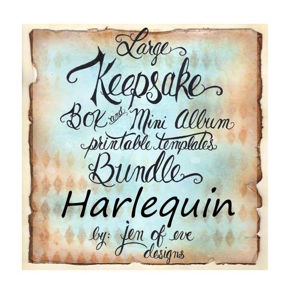 LARGE Keepsake Box & Mini Album Printable Template in Harliquin and Plain
