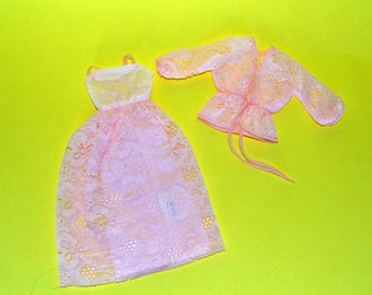 Minty 1978 Superstar Barbie Vintage Fashion Originals pink lace evening gown and lace overcoat