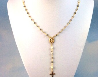Pearl Rosary Necklace Women Cross Silver Rosaries Sterling