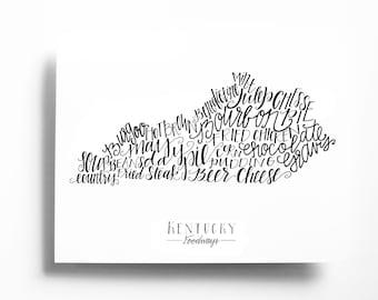 Letterpress Kentucky Foodways Print, 8x10 Calligraphy Print