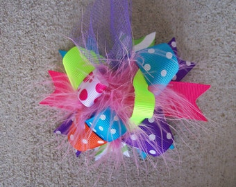 Hair Bow---MINI Funky Fun Over the Top Bow---Funky Brights---Super Cute---