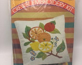 Pauline Denham Stamped Crewel Embroidery Kit Vintage 1971 Tropical Fruit 6015 Box Pillow 14x14 Wool Yarn Citrus Tree Orange Lemon Blossoms
