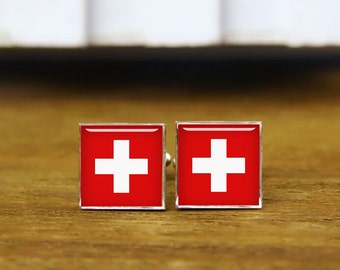 switzerland flag cufflinks, custom national flag, switzerland cufflink, custom wedding cufflinks, round, square cufflinks, tie clips, or set