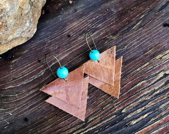 caramel brown with just a touch of turquoise. soft double stacked Leather Earrings, with brads nickel-free findings.