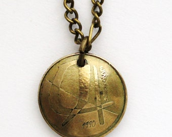 Domed Coin Necklace, 1990, Spain, Espana, 5 Ptas, Repurposed Coin Vintage Spanish Coin Jewelry by Hendywood