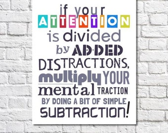 Math Art Print Nerd Gift If Your Attention Is Divided Quote Mathematics Classroom Decor Math Teacher Gift End Of The Year Gift Math Poster