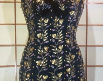 Gold Beaded Dress--Art Deco  Vintage Exquisite Hand Beaded Gold and Black Pearl Floral Dress XS/S