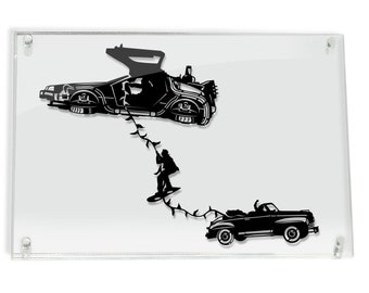 DeLorean Marty Escape - Back to the Future silhouette hand cut paper craft // handmade framed wall artwork geek art FRAMED