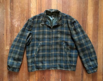 Vintage 1950s RICH SHER Green & Black Plaid Wool Atomic Zip Up Ricky JACKET Size Large 42 Rockabilly Hot Rod Gabardine Car Club