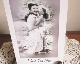 Mother's Day Card, Inspirational Photo Card, 1950's Mother and Daughter Hugging on a Picnic, Mother's Day Message, Suitable for Framing