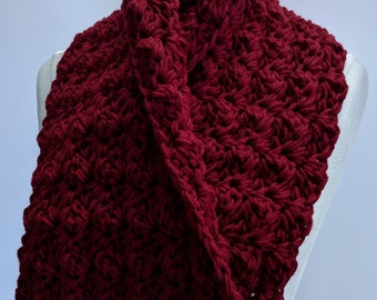 Darkest Cherry Red Shawlette, Handmade Scarf Rich Burgundy Red Cowl Scarf Double Thick Bing Cherry Accessory