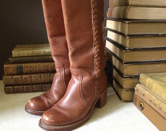 Brown Leather Frye Boots, Braided, Sienna Brown Leather Campus Boots Size 6 US