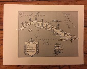 Cuba Map Art / Retro Wall Decor / Original Vintage Map Wall Art showing Havana and Camaguey / Travel Wall Map Cuban Map Decor