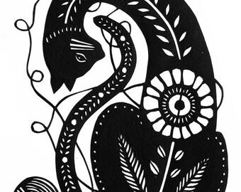 Tangled - 5 x 7 inch Cut Paper Art Print