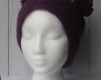 Black and Purple crochet fitted Bear hat
