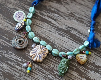 Unlisted - Charm Necklace - Silk Necklace - Boho Eclectic Necklace - Turquoise and Purple - Woodland Jewelry - Bead Soup Jewelry